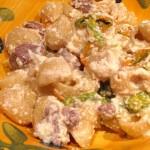 Pipe rigate con ricotta, salsiccia e fiori di zucca